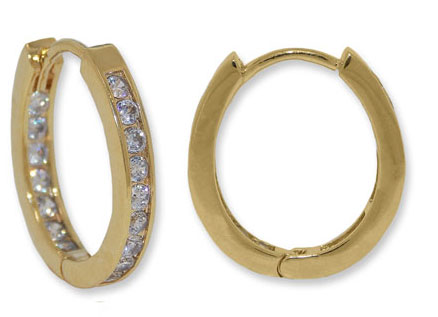 Small Oval Hoop Yellow Gold Earrings