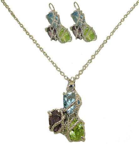 Twisted Cable Cz Dark Multi Earring & Pendant Set