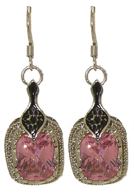 Epoxy and pink center CZ earrings on fish hook posts