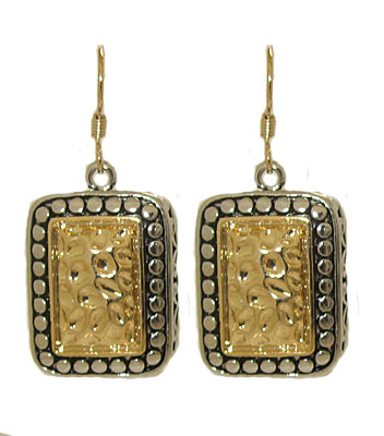 Two toned antiqued silver and gold earrings on fish hook post