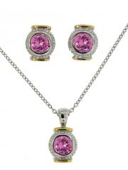2 Tone Pink CZ Pendant and Earrings