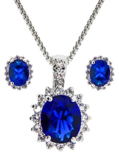 CZ Pendants & Earrings 2 pcs set