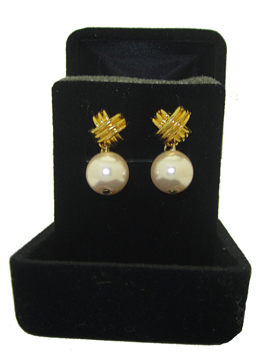 Pink Pearl CLIP French Knot Earrings Boxed