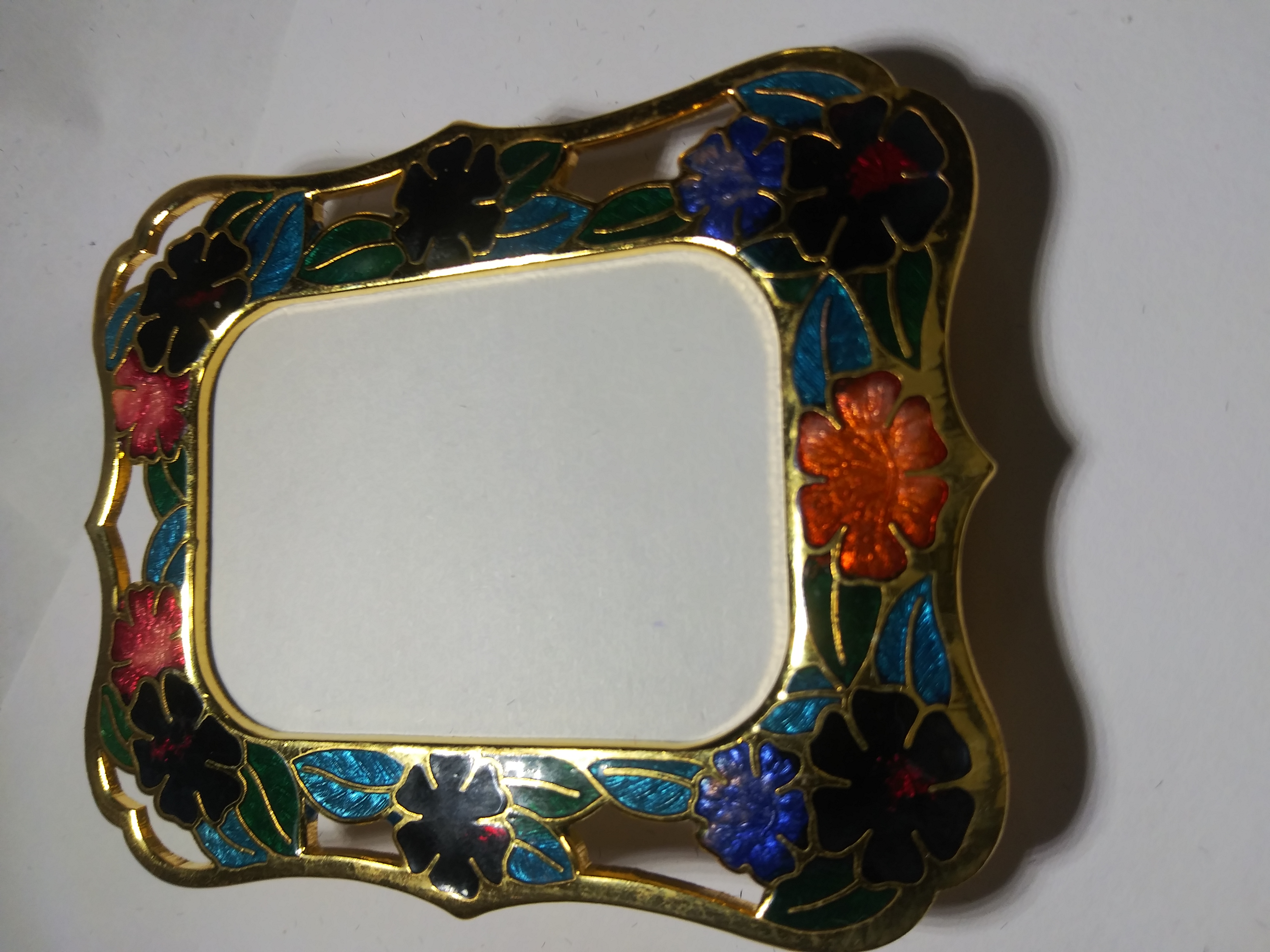 "Cloisonne Picture Frames Multi Color 2 1/2 ""h x 2 3/4""w boxed flower NWT"
