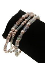 Richelieu 3 Pcs Set  Pink Pearl Stretch Bracelets