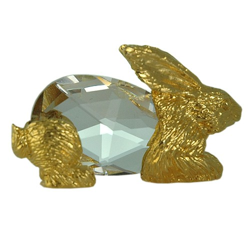 Rabbit figurine handmade Bohemia lead crystal