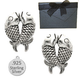 925 Sterling Silver Kissing Fish Earring