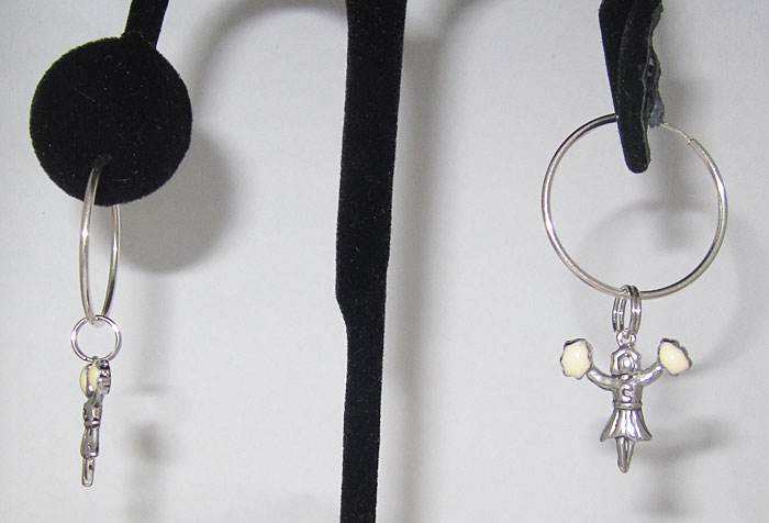 925 Sterling Silver Cheerleader Wholesale Charm Earring