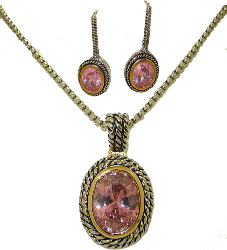 Double Cable 2 pcs Set Earring Necklace Pink