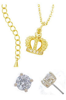 Crown Pendant 2 Pcs Wholesale Necklace Earring Set