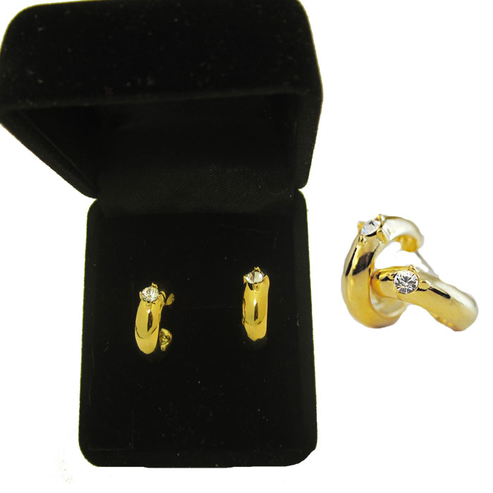 Gold Tone Hoop Post Earrings Elegant gold tone CZ