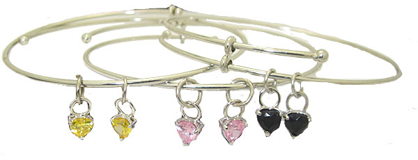 Expandble Bangle in Sterling Plate & Sterling Crystal  Heart Charm