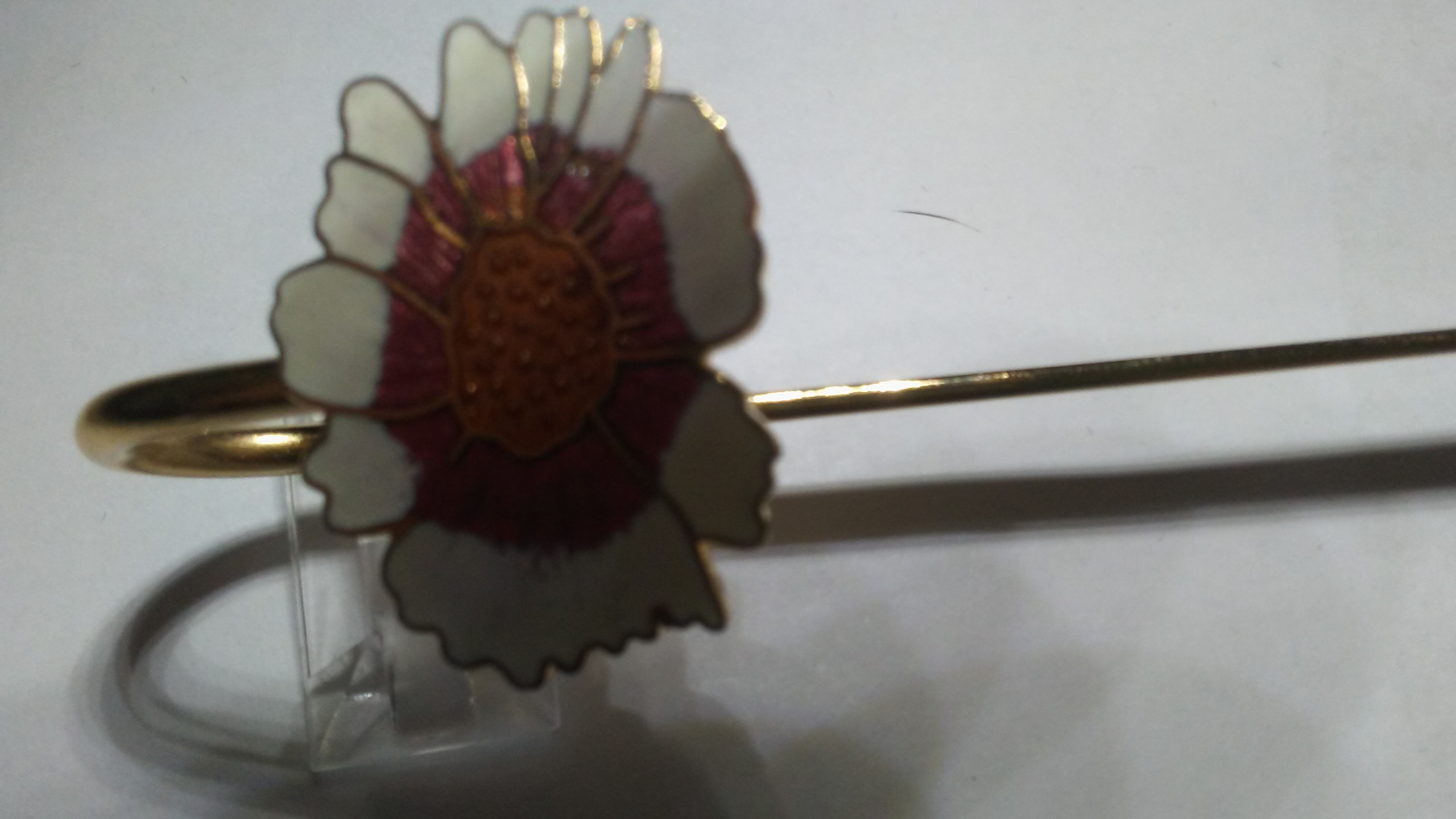 Vintage Cloisonne Bookmark Multi Colored Sun Flowers Gold on White NWT